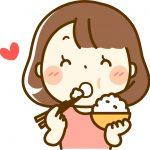 ご飯を食べる太った女性